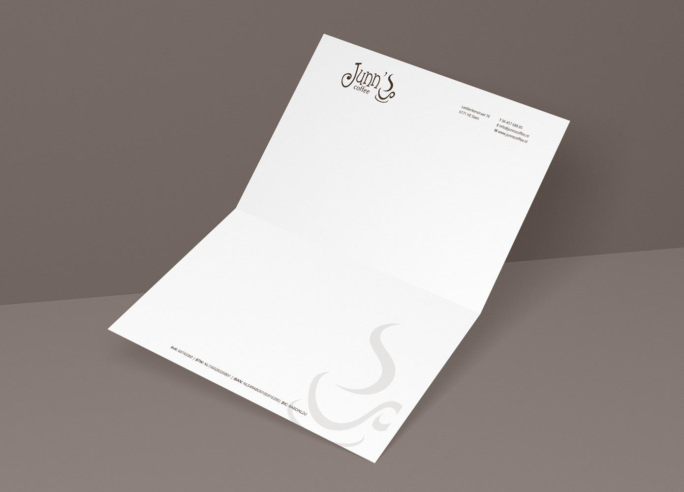 Briefpapier ontwerp Junn's Coffee