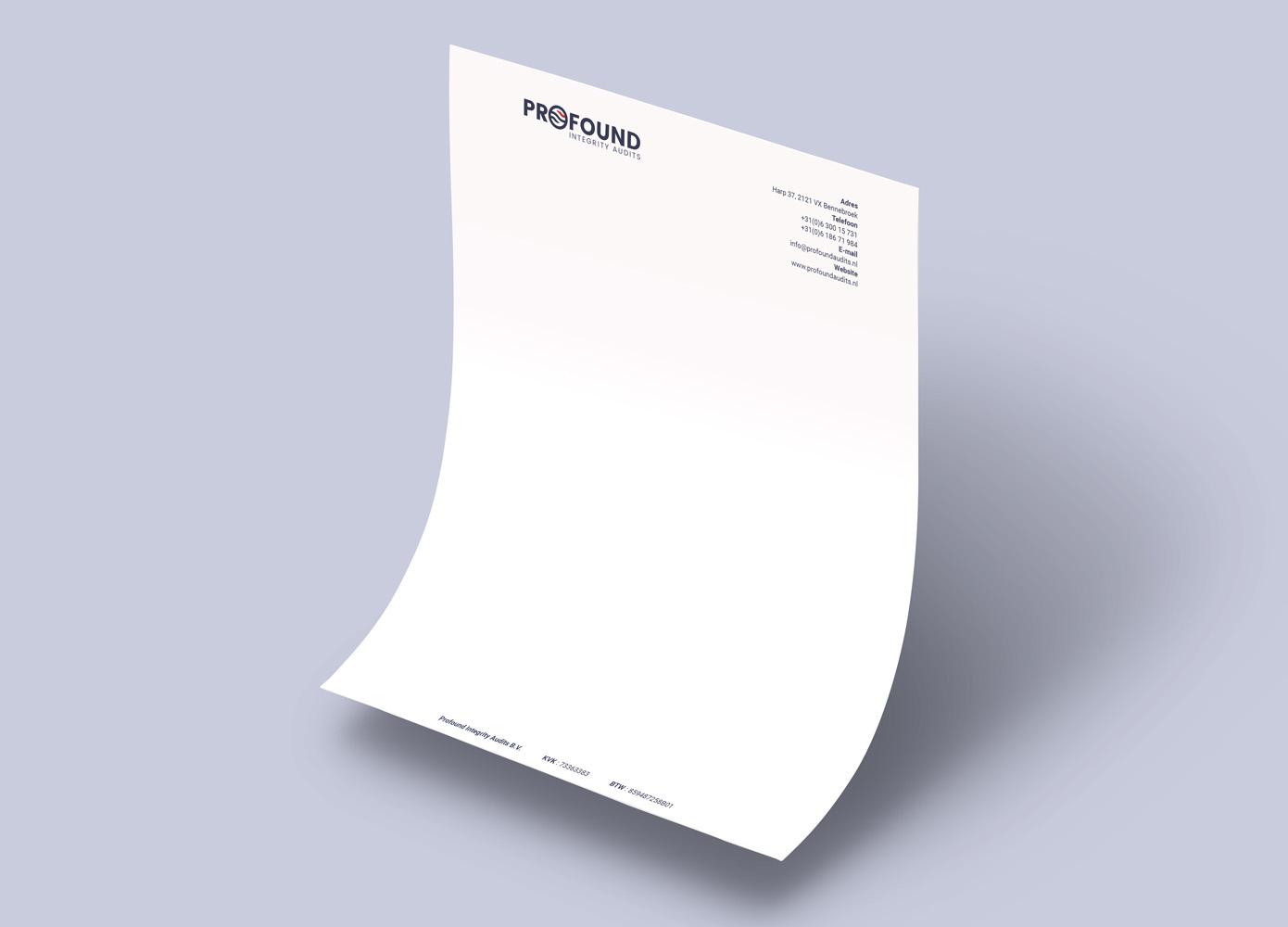 Briefpapier ontwerp Profound