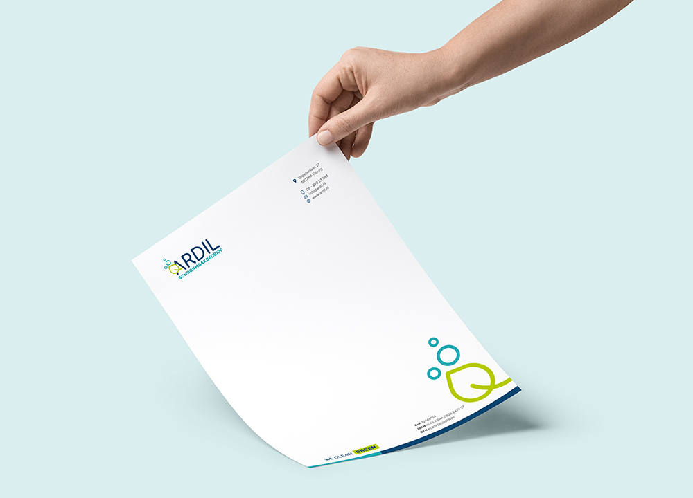 Briefpapier ontwerp Ardil schoonmaakbedrijf