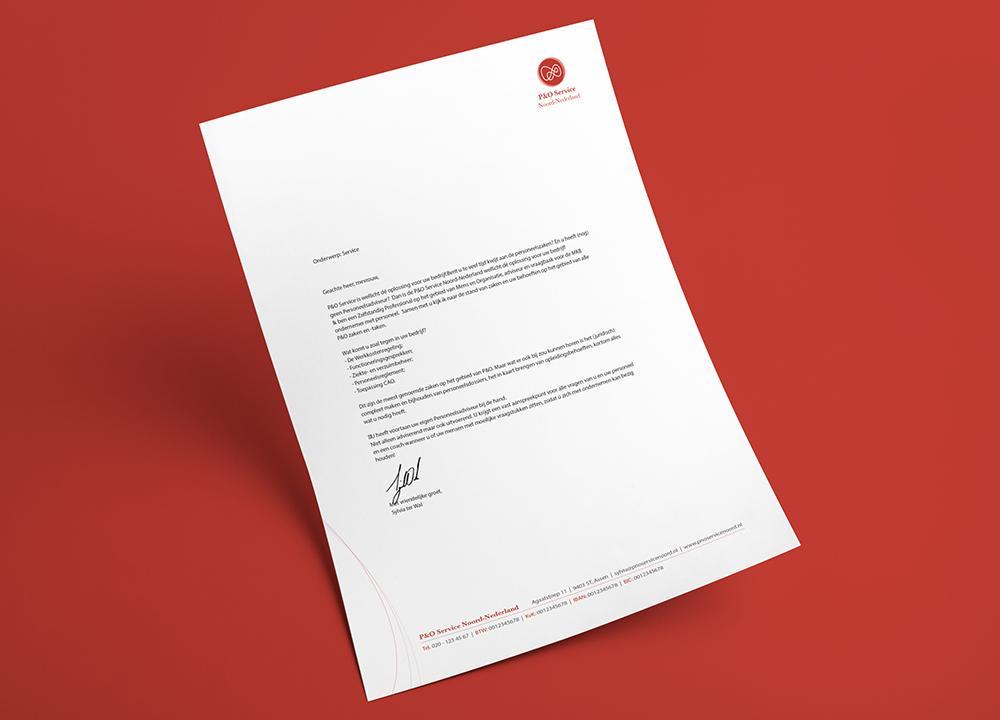 Briefpapier ontwerp P&O Service Noord-Nederland