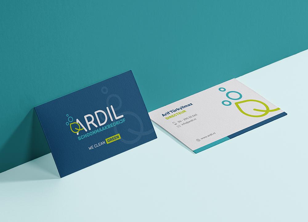 Visitekaart ontwerp Ardil schoonmaakbedrijf