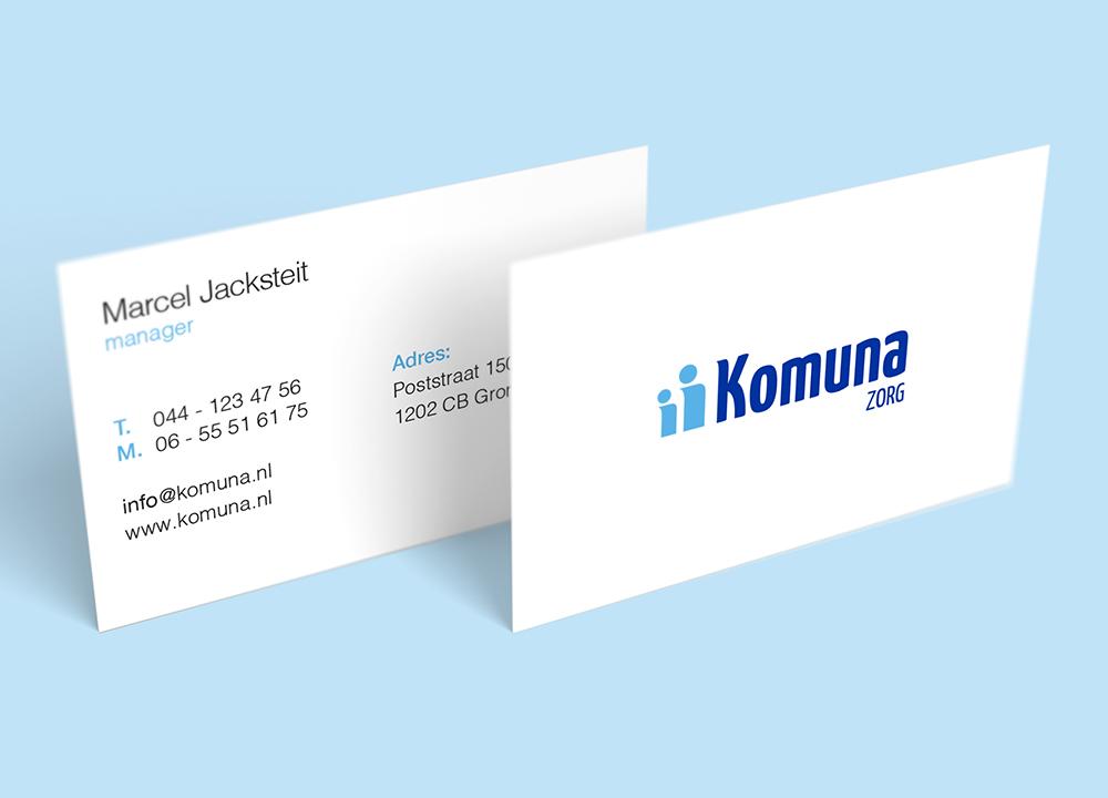 Visitekaart ontwerp Komuna Zorg