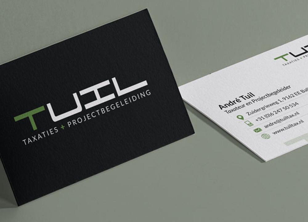 Visitekaart ontwerp Tuil Taxaties & Projectbegeleiding