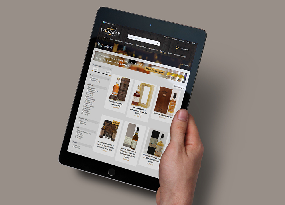 Webshop ontwerp Whiskay Invest & Collect