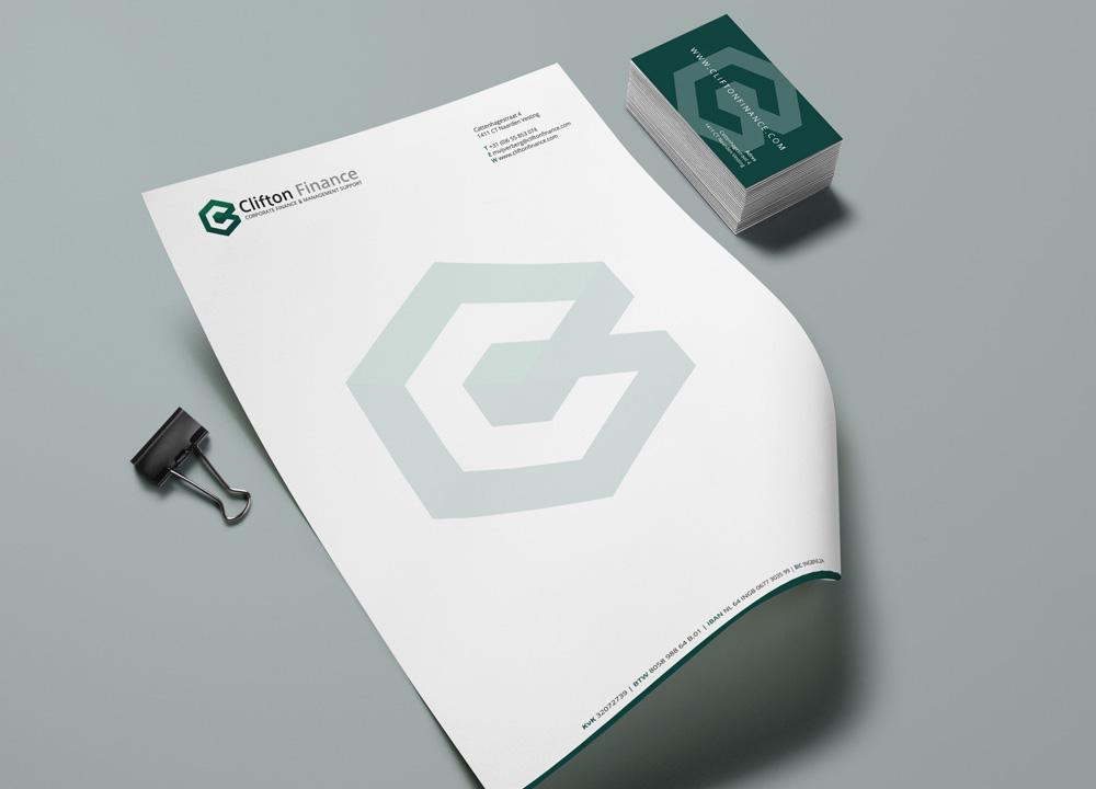 Briefpapier ontwerp Clifton Finance
