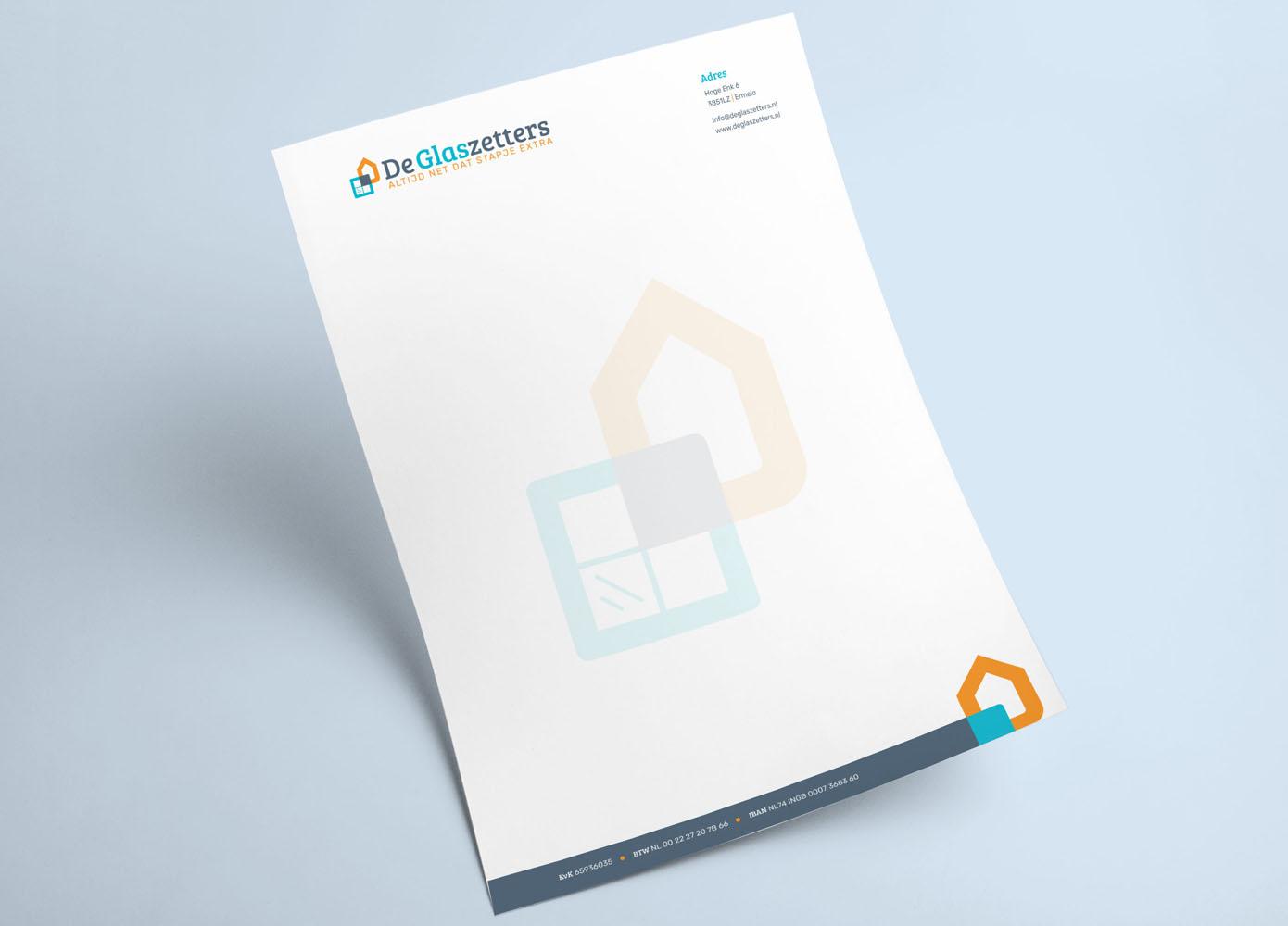 Briefpapier ontwerp Logo ontwerp De Glaszetters