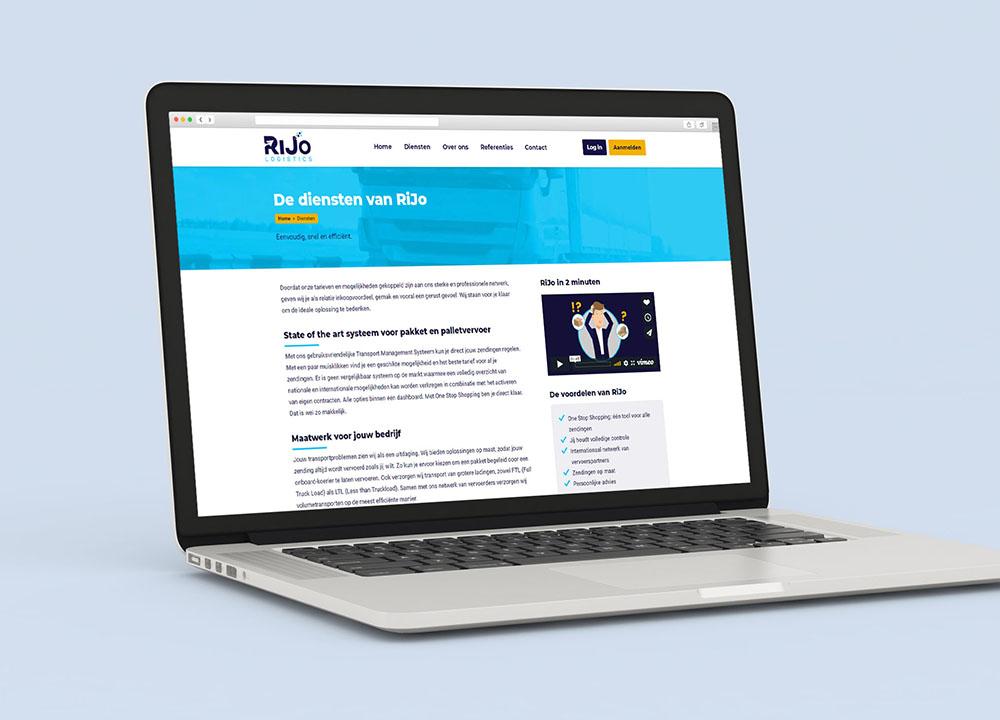 Website ontwerp van Rijo Logistics